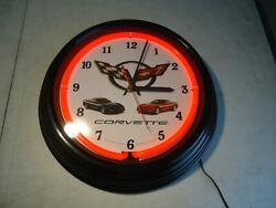 Neon wall clock Chevy Corvette 15 round NIB Neonetics man cave garage