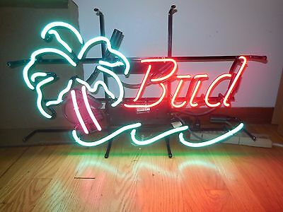 (VTG) BUDWEISER BUD LIGHT BEER PALM TREE & WATER NEON LITE UP SIGN ANHEUSER BUSH - Light Up Palm Tree