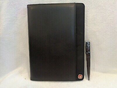Wegner Mens Padfolio Genuine Leather New And Unused Attached Pen Black Color