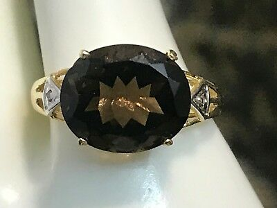 10K GOLD NATURAL 5.2 CT SMOKEY TOPAZ & DIAMOND RING 2.03 GR.+ RING BOX SIZE 6.75 Smokey Topaz Stone