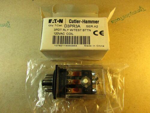 Eaton Cutler-Hammer D3PR3A Relay, 120VAC, 11-Pin, Ser A2, 3 PDT w/ Test Button