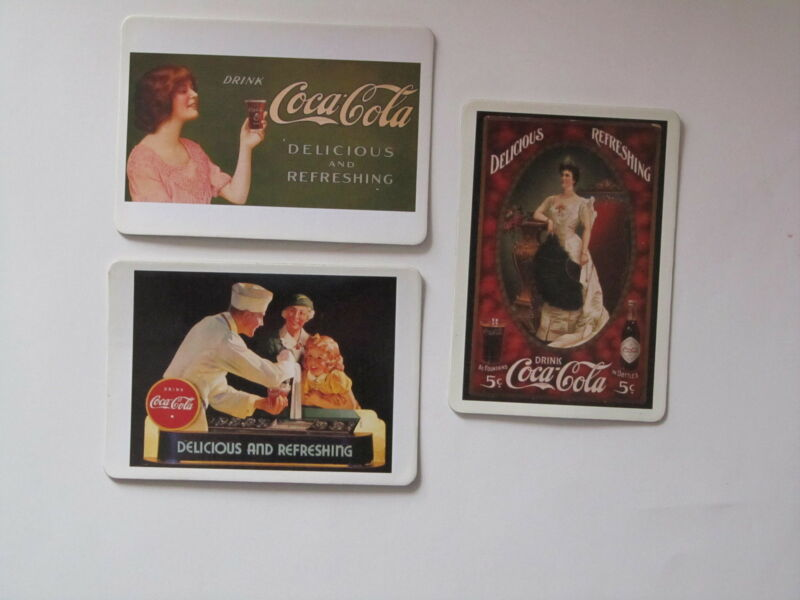 VINTAGE COCA COLA COKE  GIRL MAGNETIC POST CARDS - SET OF 3 - NEW
