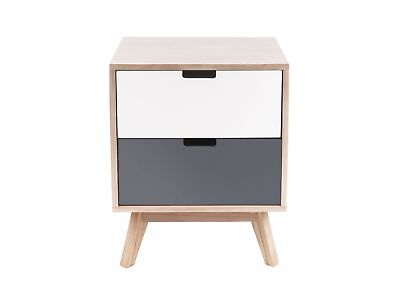 Two Drawer Bed Side Cabinet - Present Time Snap Natural Wood Cabinet - Two Drawer Bedside Cabinet