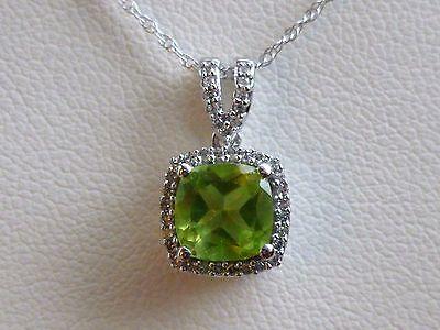 1ct Cushion-Cut Peridot & Diamond Halo Pendant Necklace White 10K Gold 18