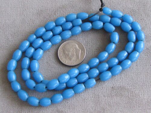 """19"""" Str Vintage Venetian African Trade Beads Turquoise 7x5mm"""