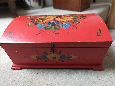 Vintage folk art red painted jewellery box
