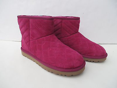 UGG Australia Womens Boots 6 Arden NEW Pink Quilted Suede uggs Boot 1016012 W