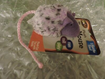 PLUSH TOY MOUSE with Rattle for Cats, as shown A Classic Cat Toy, Purple