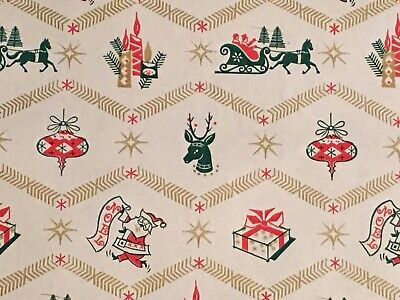 VTG CHRISTMAS WRAPPING PAPER GIFT WRAP 1950 REINDEER SLEIGH CANDLE ORNAMENT NOS ()
