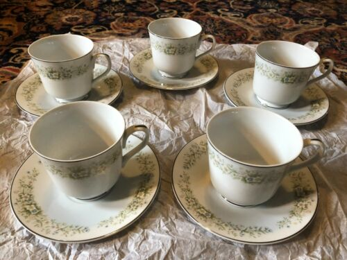 5 Dream Time Oxford Cup and Saucer Plate Pastel Floral Platinum Trim Japan 530