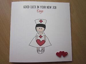 Personalised Handmade New Job, Leaving, Retirement Card - Nurse, Choose Hair Col