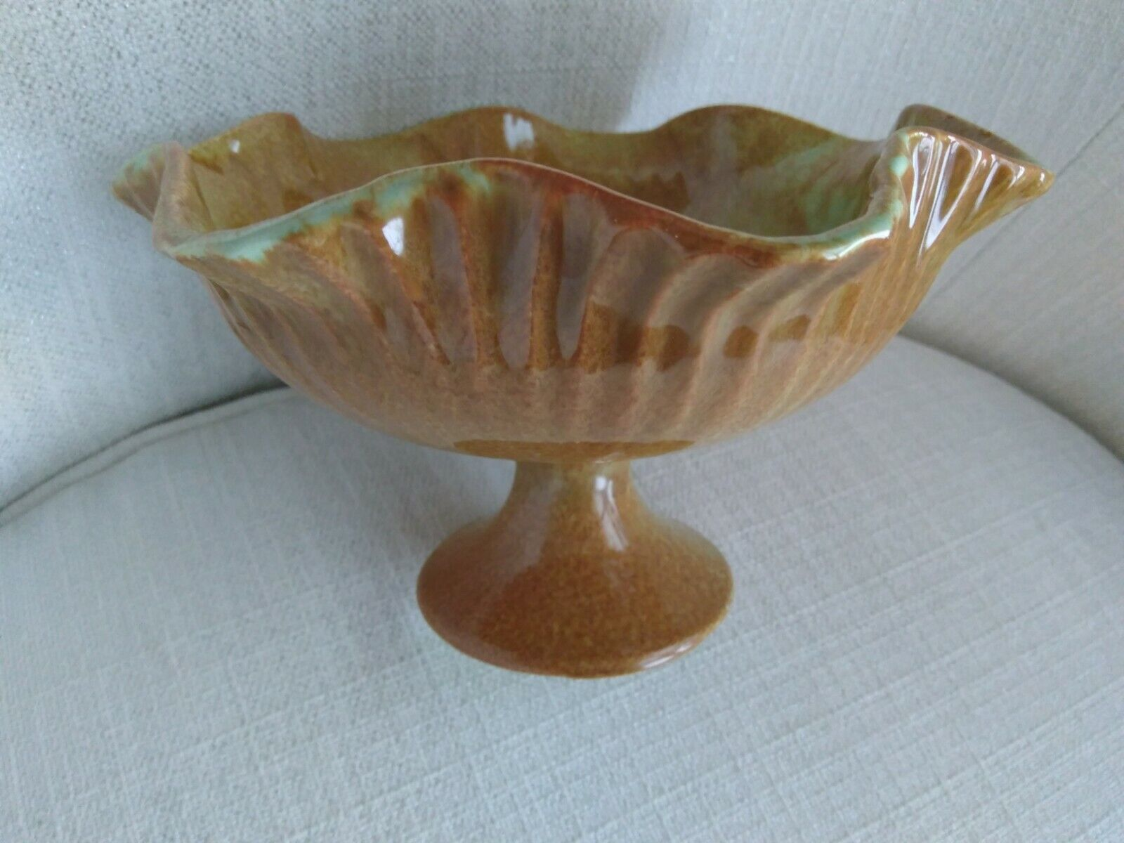 Red Wing Pottery Footed Ruffled Bowl, 7 Inch, Rust/green, 691 - $19.95
