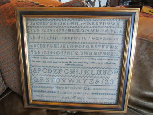 VINTAGE ANTIQUE DATED 1826 MARY ELLIS STITCHED EARLY AMERICAN SAMPLER IN FRAME