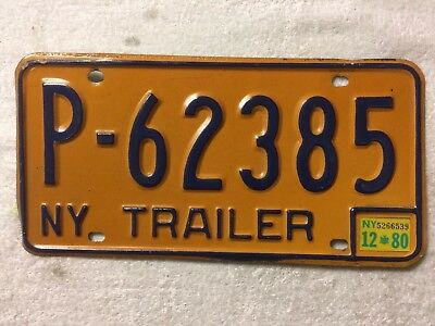 1980 New York State trailer license plate  P-62385 w/inspection sticker