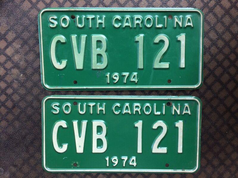 1974 SOUTH CAROLINA LICENSE PLATES CVB 121