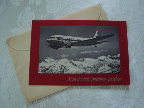 Vintage Frontier Airlines Aviation Photo Christmas Card (1960
