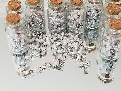 12X Baptism Pearl Rosary Bottle Recuerdos De Bautizo/Wedding Favors Quiceanera  (Wedding Favor Glasses)