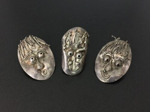 Vintage Modernist Sterling Silver Weird Faces Earrings Ring Size 6.25 Set