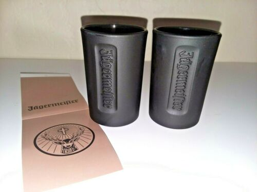 Pair of Jagermeister Matte Black Shot Glasses NEW Item was a gift promo