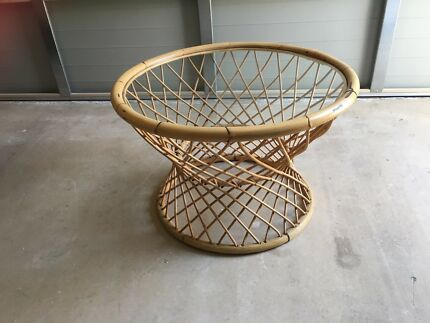 Round Cane Coffee Table With Glass Top