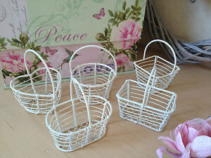 White-Mini-Wire-Metal-Basket-Small-Vintage-Wedding-Favour-Gift-5-Shapes