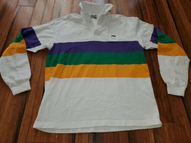 Perlis Crawfish Striped Mardi Gras Polo Mens Short Sleeve Shirt S New Orleans