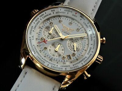 Aviator Womens Watch - Rose Gold Ladies XXL Wristwatch Crystal White Chronograph