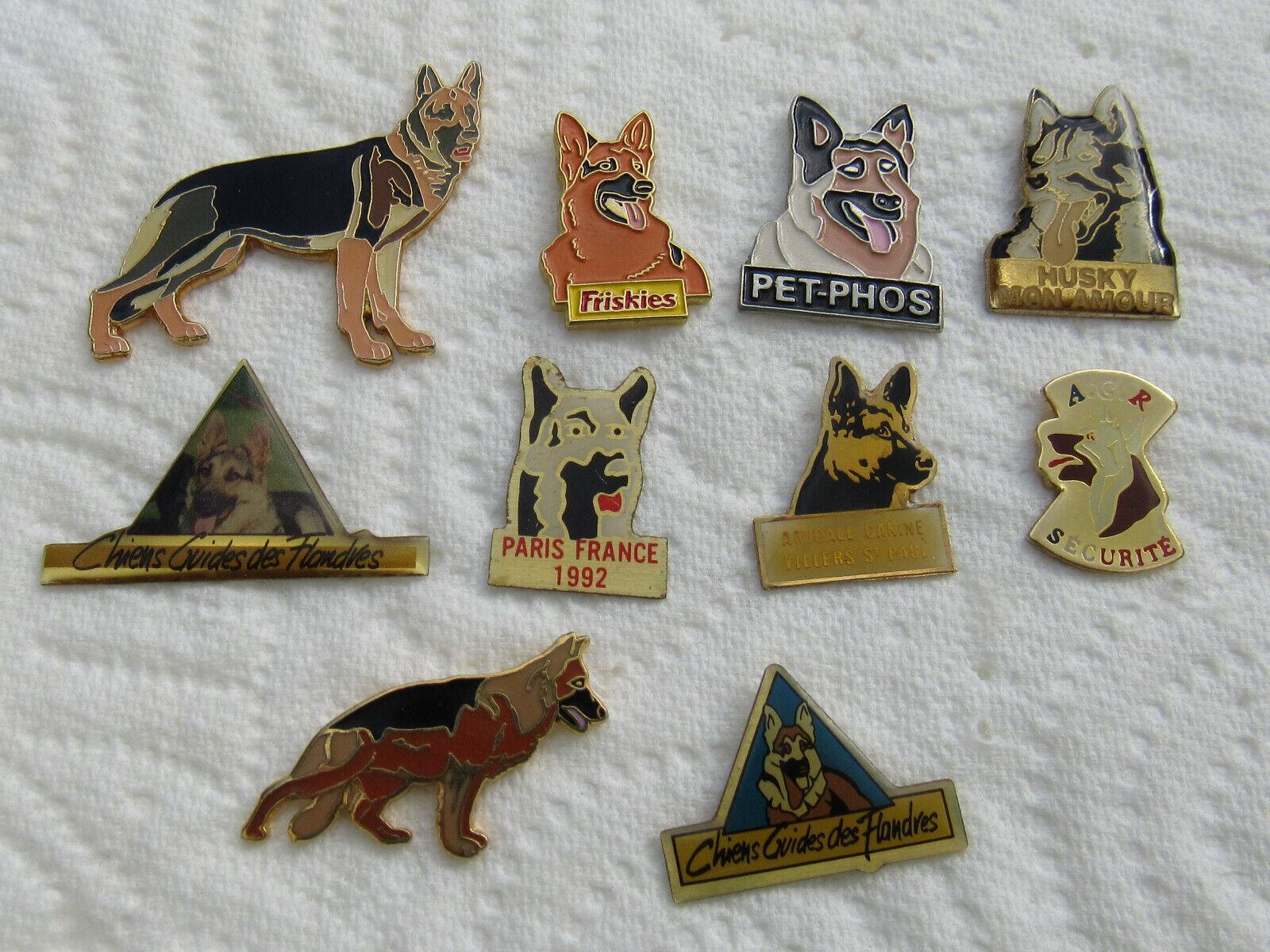 Lot de 10 pin's chien berger allemand