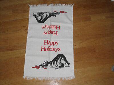 B Kliban Happy Holidays Hand Towel Vintage