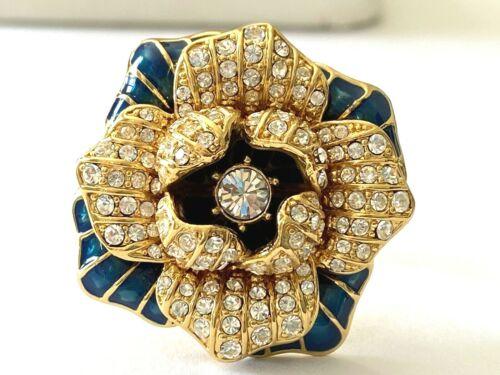 Vintage Signed Joan Rivers Navy Teal Enamel Rhinestone Flower Ring Size 10