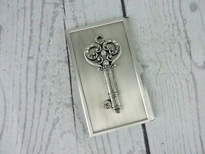 Silver Metal Business Card Holder Id Credit Wallet Skeleton Key Accent Jewels