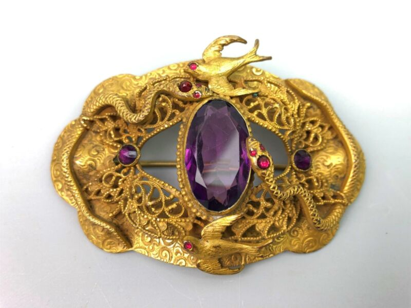 Beautiful Antique Victorian Art Nouveau Brooch Pin Snake Purple Stone