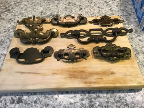 Lot of 8 Vintage Big Ornate Drawer Pulls Cabinet Handles