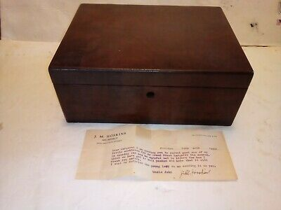Vtg. Mahogany & Walnut Box By J.M. Hoskins Signed Letter Chicago Very Rare 1934