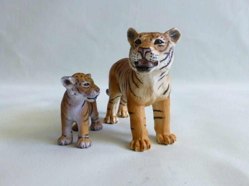 2007 Schleich Orange Bengal Tiger & Cub Figurines EXCELLENT CONDITION