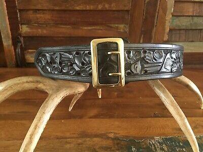 Vintage Tex Shoemaker Black Floral Carved Leather Police 2.25 Duty Belt Size 48