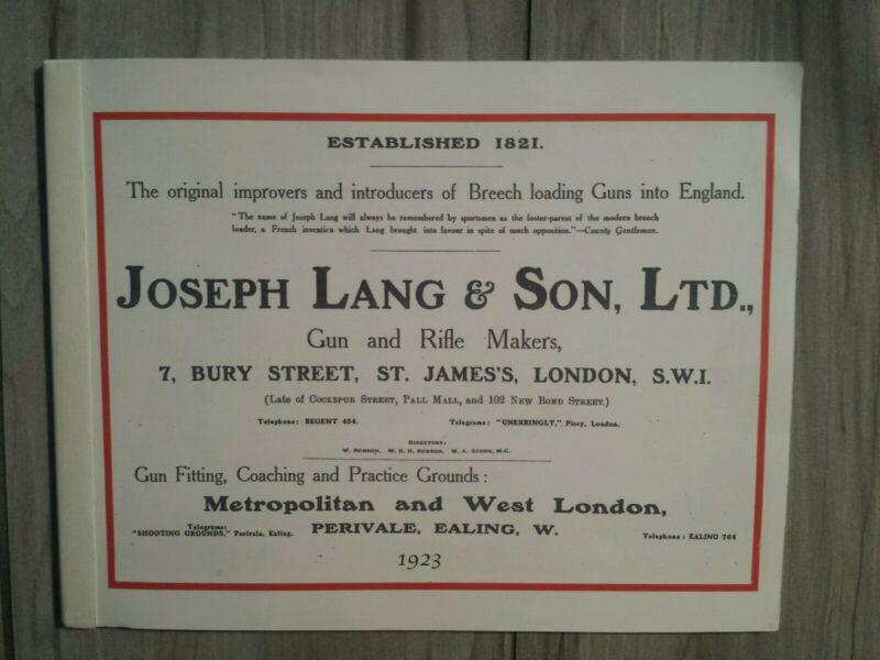 Joseph Lang 1923 Gun Catalog