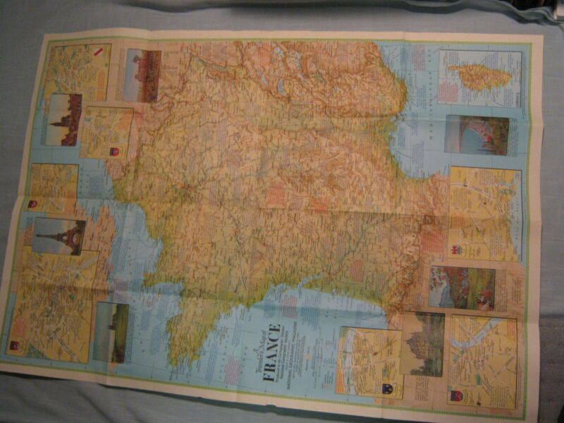 VINTAGE TRAVELER'S MAP OF FRANCE National Geographic June 1971 Mint