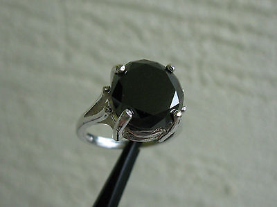 5 22Ct Real Black Diamond Ring Solitaire W  Appraisal Free Diamond Tester Size 9