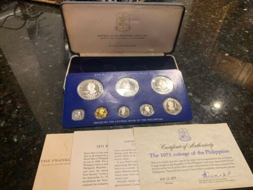 PHILIPPINES 1975 8-COIN PROOF SET COMPLETE WITH CERTIFICATE AND LITERATURE