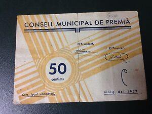 Billete-local-de-50-centimos-Consell-Municipal-de-Premia-ENVIO-GRATIS