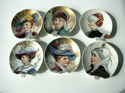 Antique Butter Pats, late 1800s, Gebruder Heubach DEP - Victorian Ladies