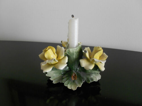 Set(Pair of Capodimonte Floral Candle Holders)