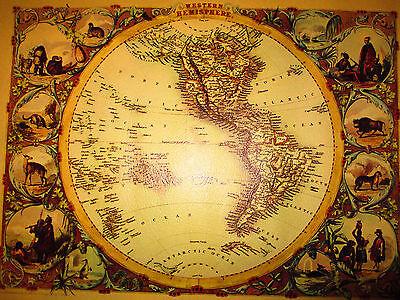 1851 Tallis Western Hemisphere Map 25 X 20 Rapkin South America Usa