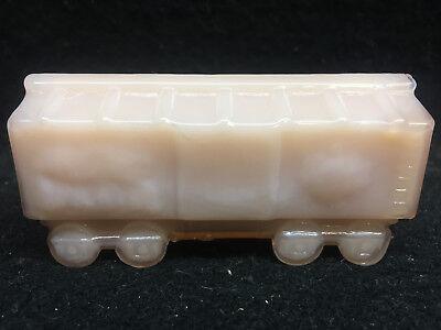 pink milk glass train box car railroad RR art boxcar circus Crown Tuscan opaque