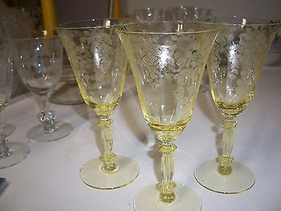 "CAMBRIDGE CRYSTAL APPLE BLOSSOM 3130 water goblet 7-1/4"" - SET OF 3"