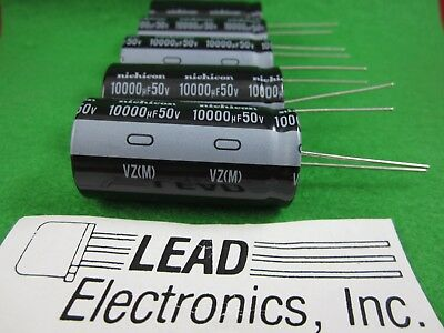 10 Pcs 10000uf 50v Radial Capacitor 105-deg Nichicon Uvz1h103mrd 2020dc