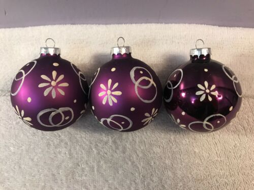 Christmas ornaments set of 3 glass purple white designs CH6497
