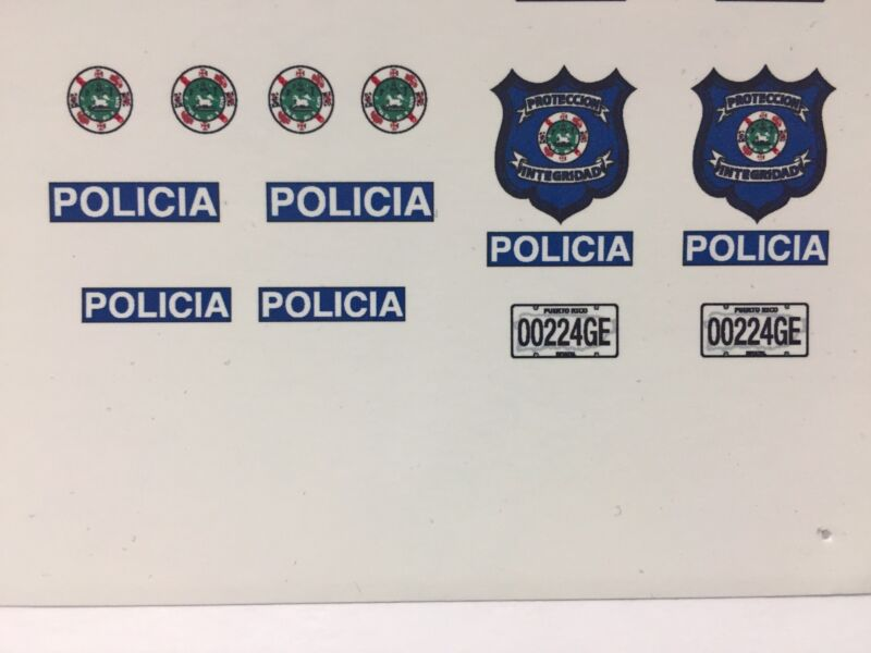 1/18 Puerto Rico Police VOLKY.///DECAL SET ONLY/// DECAL SET ONLY// LAST SETS...