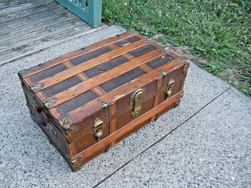 Repurposed Antiques Steamer Trunk 1800s Flat Top Wood Chest for Coffee Table